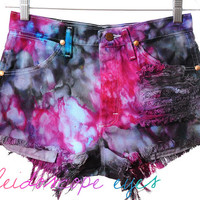 Vintage Wrangler GALAXY Colorful MARBLED Dyed DESTROYED High Waist Denim Cut Off Shorts S