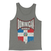 Dominican Republic Distressed Flag Jersey Tank Top for Men