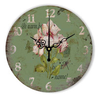 Vintage Bedroom Decor Silent Wall Clock Watch Warranty 3 Years Pastoral Style Large Decorative Wall Clock For Living Room