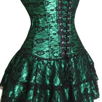Women Sexy Lingerie Cosplay Halloween Burlesque Costume Gothic Renaissance Overbust Waist Training Bustier Corset Top and Mini Skirt Dress Set Clubwear = 1930178884