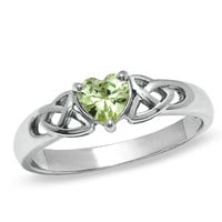 Green Heart-Shaped Cubic Zirconia Fashion X Ring in Sterling Silver - Size 7 - - View All - PAGODA.COM