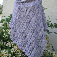 lilac poncho, Summer poncho, Knitted  delicate shawl fashionable stylish scarf from natural cotton Bambo