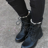 Shady Groves Black Lace Up Combat Ankle Boots