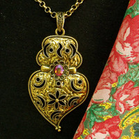 Portuguese gold Viana heart folk jewelry necklace made in Portugal big heart pendant with rhinestone
