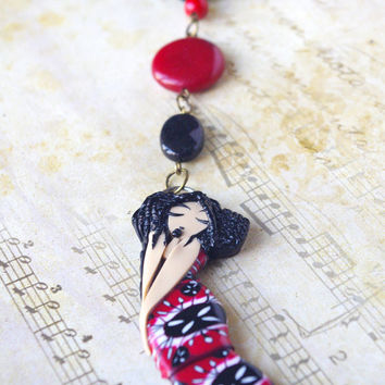 sleeping beauty necklace , fairy polymer clay pendant , black red jewelry , girl shape pendant