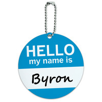Byron Hello My Name Is Round ID Card Luggage Tag