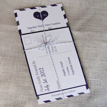 Airmail Vintage Purple Wedding Invitation and RSVP Suite Tied with Twine