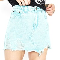 Acid Bath Distressed Mini Skirt