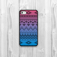 Ombre Aztec iPhone Case - iPhone 4, iPhone 4s, iPhone 5 cover - Pink Blue Purple Ombre Geometric Aztec Pattern Protective Cell Phone Case