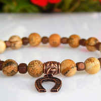 Men's Picture Jasper Bracelet, Gift for Hen