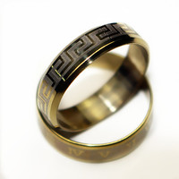 Vintage Gold Plated 316L stainless steel Ring Mens Jewelry for Men lord Wedding Band male ring for lovers