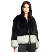 Fur Patchwork Zippers Jacket [6407762884]