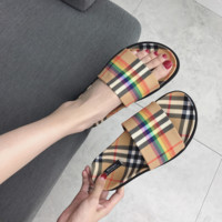 Rainbow Vintage Check Slides