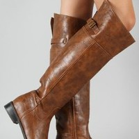 New Ladies Tan Brown Over Knee High Riding Cowboy Boots feat Side Zip Closure shoes