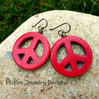 Red Howlite stone peace sign earrings. Large, lightweight.