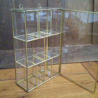Vintage Brass Vitrine Glass Display Case Shelf Jewelry Box