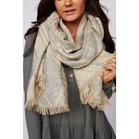 Beyond Cozy Geometric Blanket Scarf (Light Grey)