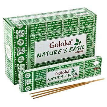 Goloka Nature's Basil Incense - 15 Gram (12 per box)