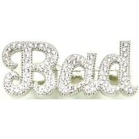 BAD Iced Out Two Finger Ring In Silver Color