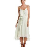 Spaghetti Strap Belted A-Line Pleated Midi Dress