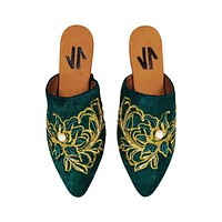 Mules Silvia Cobos Embroidered Green