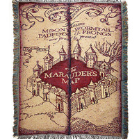 Harry Potter Marauder's Map Woven Tapestry Throw Blanket