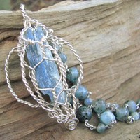 Kyanite Raw Crystal Pendant Necklace Blue Gemstone Bead Chain Sterling