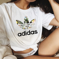 Adidas fashion print show thin leisure T-shirt White