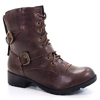 Nova By Soda, Military Combat Lace Up Calf High Boots Lug Sole Women Shoes