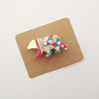 Geometric Bear Brooch - Neon Enamel Metal Pin Badge