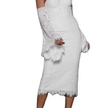 Chic White Embroidered Lace Bell Sleeve Midi Party Dress