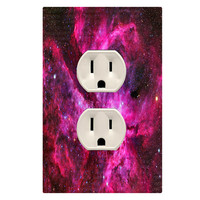 Wall Plug Cover Decal Outlet Galaxy Wall Art Kids Room Decor OU24