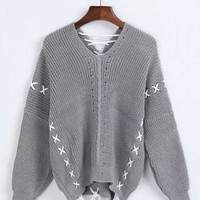 V-neck Pure Color Straps Long Sleeves Regular Sweater
