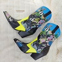 Kelsey Western Designer Cowboy Style Pointy Toe Ankle Boot Colorful Multi Snake