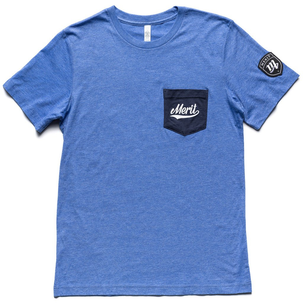 Image of Knowledge is Power Pocket Tee - Blue/Navy