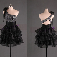 2014 short black tulle homecoming dress under 150,unique cute gowns for holiday party,cheap one shoulder prom dress with sequins hot.