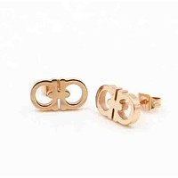 Ferragamo Fashion new letters women earrings Rose gold