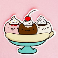 Banana Split Cats • Hand Cut Vinyl Sticker