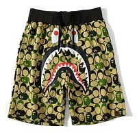 Bape Fashion Camouflage Print Shark head Shorts