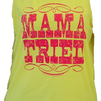 Southern Couture Mama Tried Mom Yellow Girlie Bright Tank Top Shirt