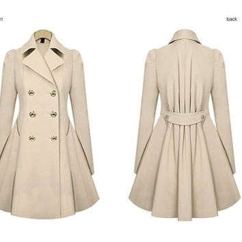 2016 women's coat Coat Outerwear Turn-Down Collar Bat Sleeved Solid Slim Long Wool jacket Winter Coats TLNS219 = 1956940676