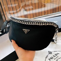 Prada personality chain solid color men's and women's messenger bag waist bag
