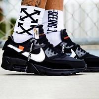 Nike Air Max 90 2.0  x Off-White x OW high elastic soft rubber black