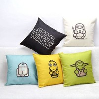 DCCKU7Q Star Wars Pattern Cushion Cover 18x18 inches Cotton Linen Square Pillow Cover