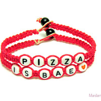 Pizza is BAE, Neon Pink Bamboo Bracelets for Pizza Lovers, Set of Two, Bamboo Cord Jewelry