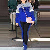 Victoria's Secret Pink Fashionable Women Casual Print Hoodie Sweater Trousers Two-Piece Set Sportswear Blue