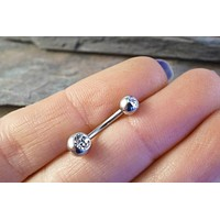 Simple Crystal Belly Button Ring Jewelry