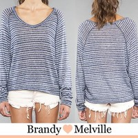 Point 10 times 35%off John Galt By Brandy Melville ジョンギャルト by Brandy Melville horizontal stripe long sleeves knit Willow Sweater made in Italy
