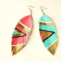 SALE Neon Aztec Faux Leather Feather Earrings by lovesexton