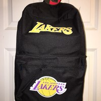 "NWT Los Angeles Lakers Basic Backpack  18""H x 12""W x 6.5""D NBA LA Black"